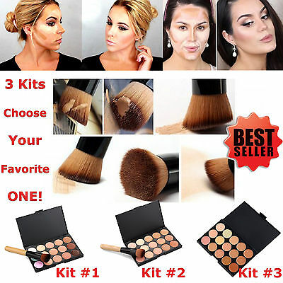15 Colour Concealer Palette kit Face Makeup Contour Cream With or Without Brush