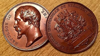 Bronzed Medal / Mount / Trial. Napoleon III Exposition, 1860. 49mm. 19th Century