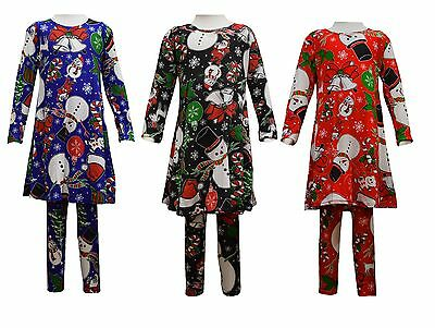 Girls Christmas Dress Leggings Set  Snowman  Print New Xmas  2-13 yrs