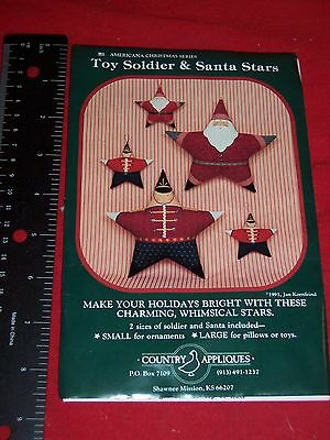 COUNTRY APPLIQUES Toy Soldier & Santa Stars Folk Art New Uncut Pattern Cpy 1991