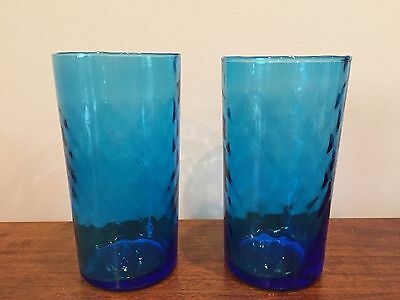 Antique Victorian Cobalt Blue Diamond Quilted Pattern Tumblers