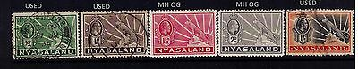 Nyasaland Protectorate SC#38-41&46 MH and Used Cat.$19