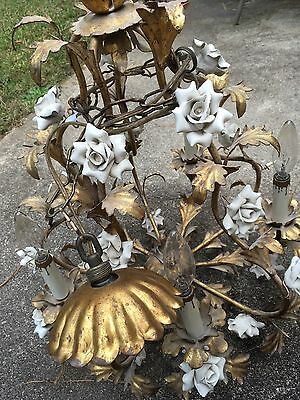 Antique Ornate Gilded Bronze Leaf With Porcelain Flower Electric