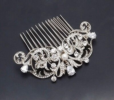 Frances Diamante Bridal Formal Comb Swarovski Pearl Headpiece Fascinator Wedding