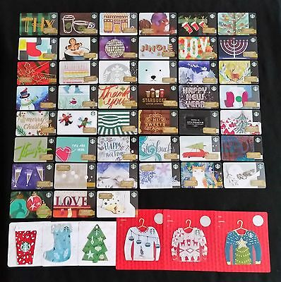 Starbucks 2016 Christmas Holiday Gift Card Set - Lot of 52 Cards - NEW