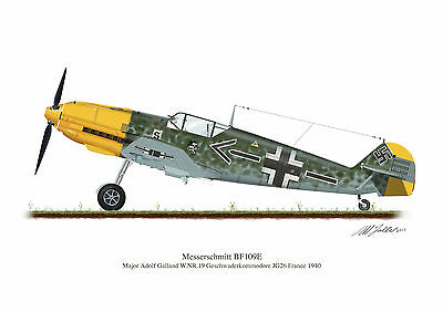 Messerschmitt BF109E Aircraft Profile Artwork Adolf Galland A5 Glossy Print WW2