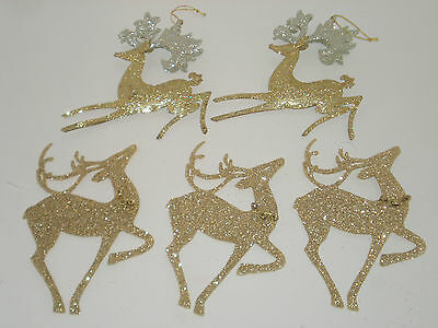Lot of 5 Gold REINDEER Christmas Ornaments Used Once