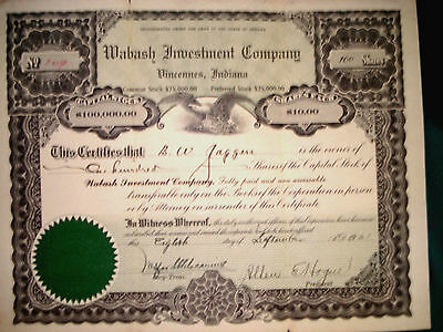 Stock Certificate - Wabash Investment Company - 1921