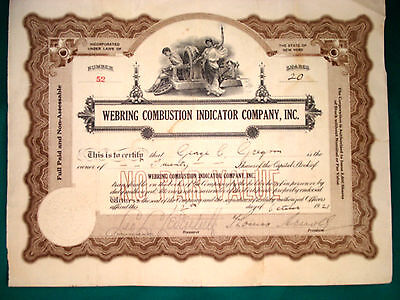 Stock Certificate - Webring Combustion Indicator Co. - 1921