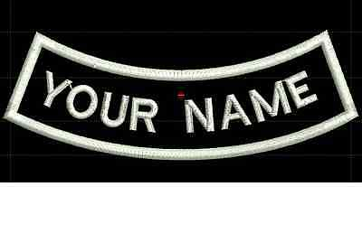 CURVE CUSTOM EMBROIDERED NAME TAG Iron on patch Quality Badge (Inverse)