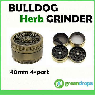 Golden 40mm 4 Part Amsterdam Bulldog Herb Grinder Smoke Quality * Free Shipping