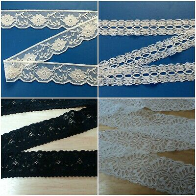 Stretch Lace ~ Black or White ~ Varied Widths