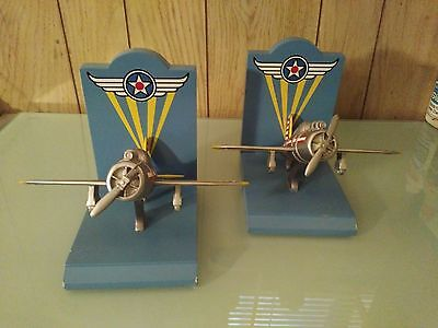 Bombay Kids LOT OF 2 Bookends -Airplanes/Fighter Planes/Bookends-