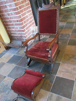 RARE! Antique Sherrill Eastlake Victorian Platform Rocker w/Heated Footstool