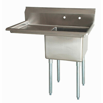 """Commercial Stainless Steel NSF Compartment Sink 24"""" x 24"""" x 14"""" 1 Drainboard"""