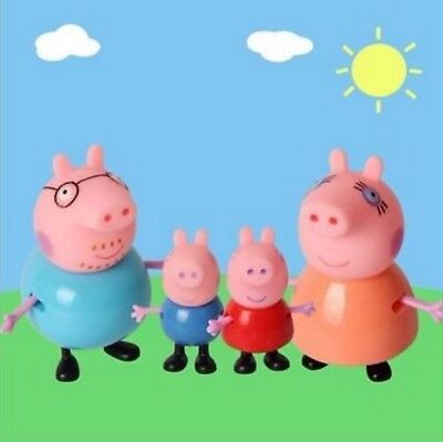 4PCS Peppa Pig Toy Family Action Figures Toys Gift Daddy Mummy Kids Playset Gift