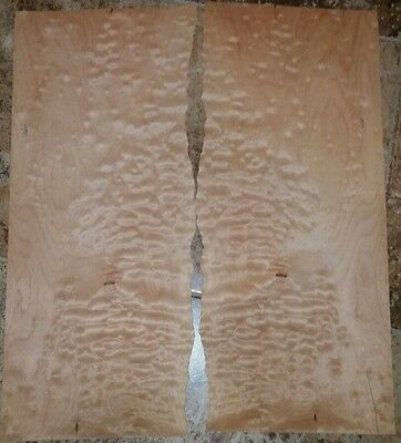 "2 flat pieces quilted maple wood veneer 22.7"" x 9 1/2"" guitar 1/42"" Luthier"