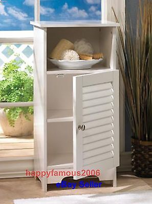 White Bedside Table Nightstand Shelf Cabinet Wall Bath Kitchen Organizer Table