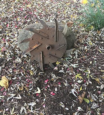 Rotary Hoe Steel Wheel Iron Metal Lawn Yard Garden Art Decoration Sunflower Star