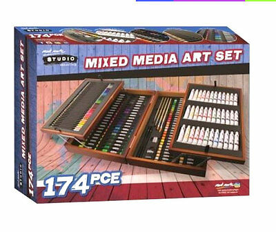 174pc Mont Marte Studio Essentials Mixed Media Art Set  w Wood Case Artist Art