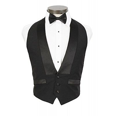 Mens Classic Formal 100% Wool Black Backless Tuxedo Vest Includes Bow Tie Small