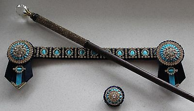 Navy & Light Blue Satin Browband, Lapel Pin & Chocolate Brown Show Cane Set NEW