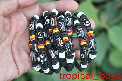 10 Aboriginal Shark Cartilage Wood Beads Slip-Knotted Bracelets Wholesale Lot