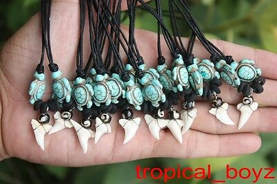 10 Indo Shark Tooth Necklaces Sharks Teeth BLUE TURTLE Bone Beads Wholesale *