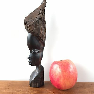 Vintage Old African EBONY TRIBAL GIRL HUMAN Sculpture WOODEN Carved Art #214