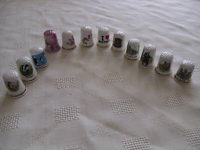 12 Mixed Bone China Thimbles