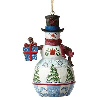Jim Shore - Heartwood Creek - Mini Snowman With Gift Hanging Ornament