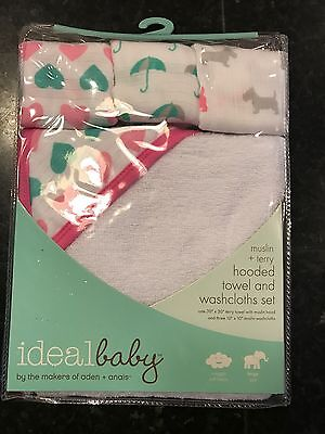 Aden & Anais Ideal Baby Pink Teal Washcloth And Hooded Towel Set