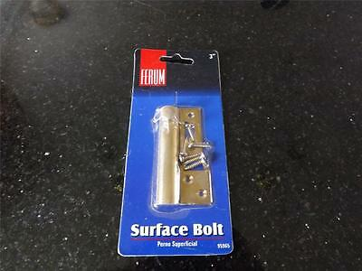 """Bolt Solid Brass polished finish for swing or bi-fold doors Ferum 3"""" Surface"""