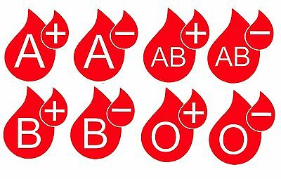 Blood Type Stickers Blood Group Vinyl Decals x 2 Rally Car Helmet Phone Bike