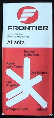 Frontier Airlines: Atlanta City Schedule / Timetable: Effective May 1, 1981: Vtg