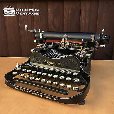 1939 Corona 3 Folding Typewriter Crackle Body Working Black Red Ribbon EXCELLENT