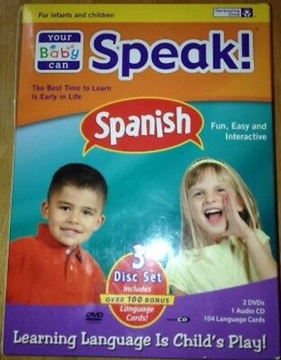 NiB Your Baby Can Speak! Spanish 3-Disc Language Learning Box Set 100+ Cards New
