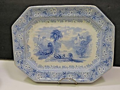 19th Century Blue Transferware Platter Tivoli C. Meigh Bucolic English Scene