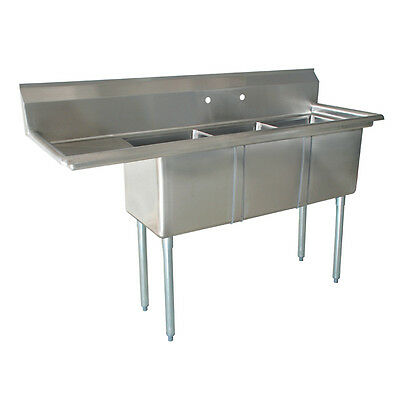 "New 3 Compartment Stainless Steel Sink 18"" x 18"" x 12"" - 1 Drainboard NSF"