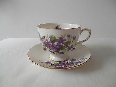 Queen Anne Cup & Saucer Purple Violets Vintage England Bone China