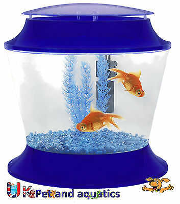 Fish R Fun, Kids Plastic Fish Bowl Blue, With Filter, Gravel & Plant, 17L