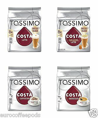 Tassimo Costa Packs: Latte, Caramel Cappuccino & Americano. Pick Any