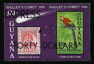 Astronomy 1987 Guyana Halley`s Comet Express 40$ Papagei Block 19 MNH /1311