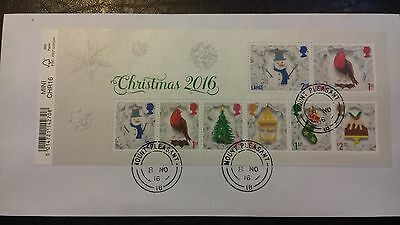 Very fine used 2016 GB Christmas Mini Sheet, on envelope.