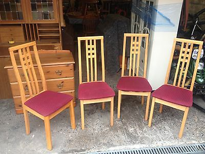 Set Of 4 Contemporary Beech High Back Dining Chairs