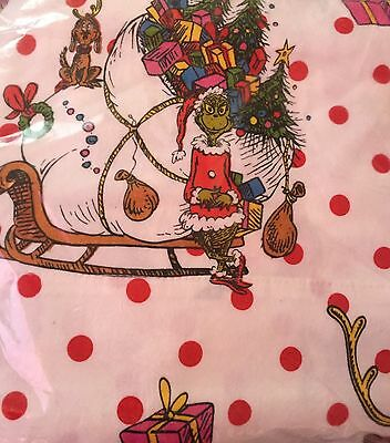 NEW POTTERY BARN Grinch who Stole Christmas TWIN XL Flannel Sheet Set Sold Out