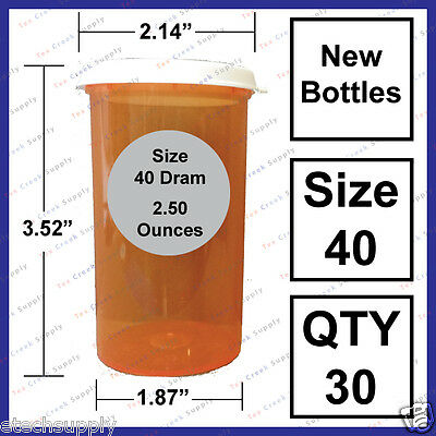 30 NEW Empty RX Prescription Bottles Snap Size 40 Dram Craft Storage Container