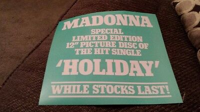 Madonna holiday original 1985 rare uk promo display flat for picture disc