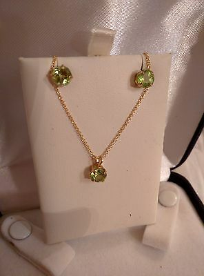 """14k Solid Yellow Gold Set of Pair Earring and Pendant,Stud,Peridot,Chain 18"""""""