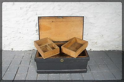 Antique Grey Painted Pine Work Chest / Trunk / Box Inner Trays - Nice Small Size